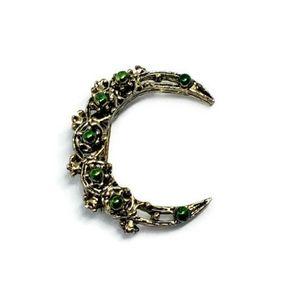 Crescent Moon Green Enamel Brooch